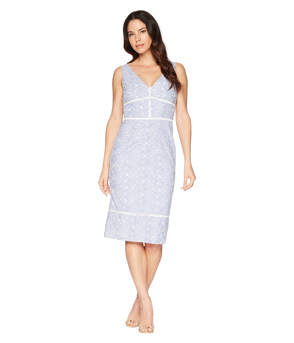 Maggy London - Pincord Embroidery Novelty Sheath Dress (Blue/White) Womens Dress