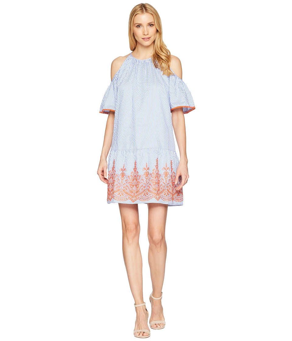 Maggy London - Embroidery Stripe Cold Shoulder Shift Dress (Blue/White/Orange) Womens Dress