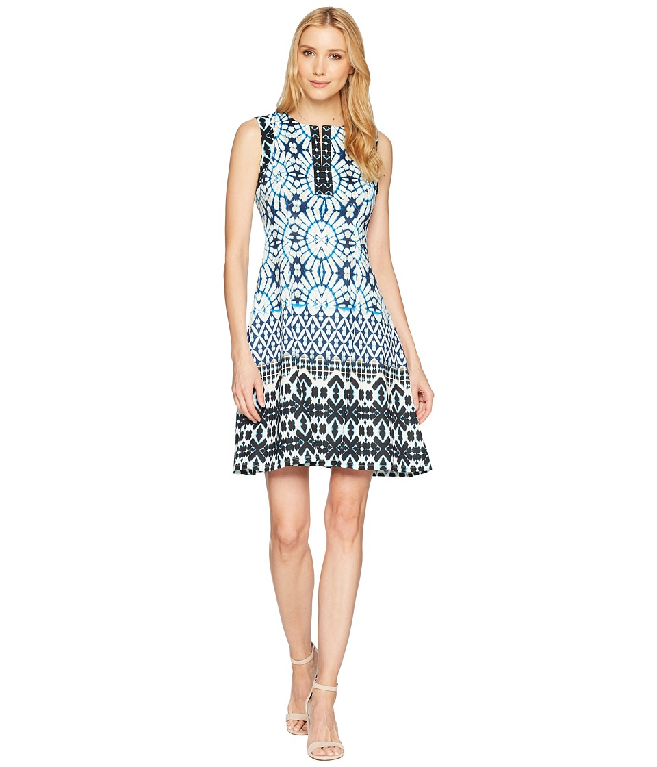Maggy London - Sundial Ikat Printed Scuba Fit Flare Dress (Soft White/Navy) Womens Dress