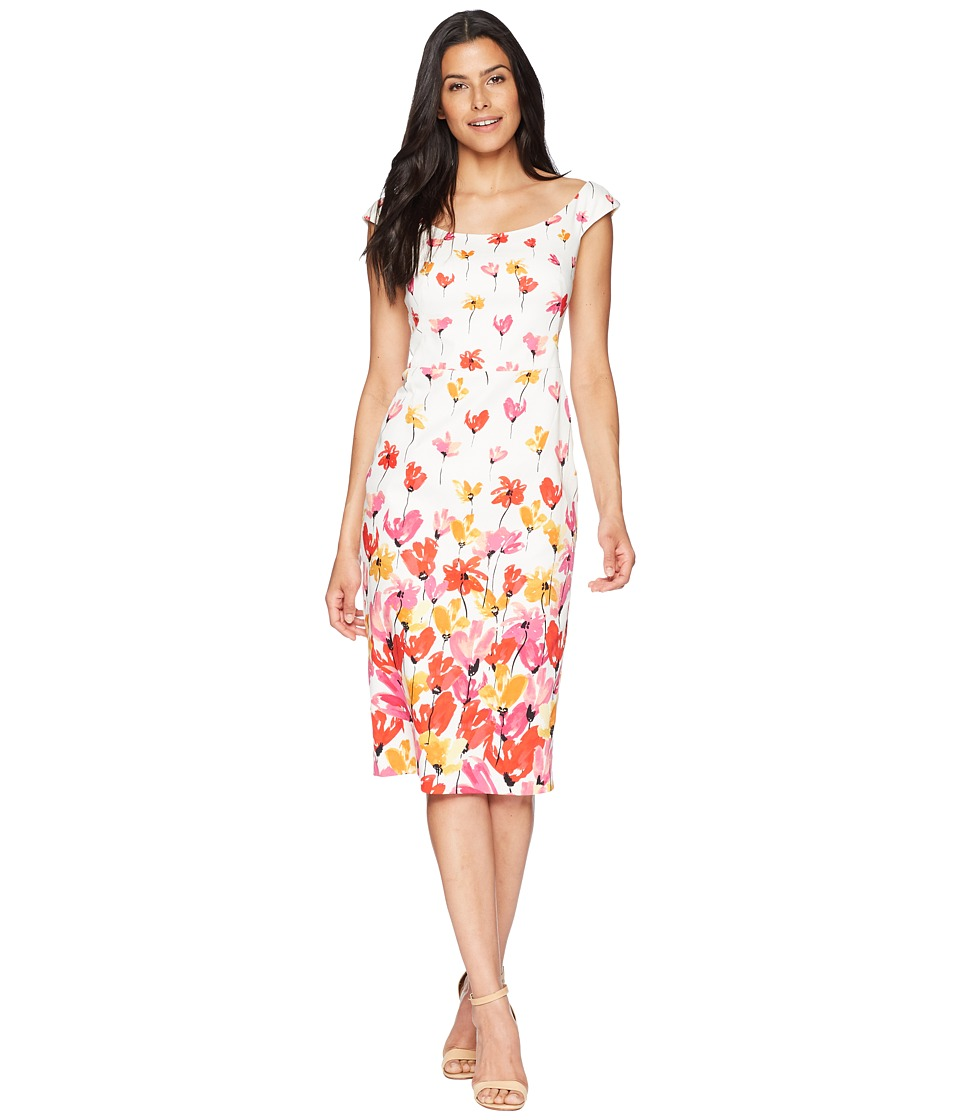 Maggy London - Tulip Border Printed Cotton Sheath Dress (Soft White/Raspberry) Womens Dress