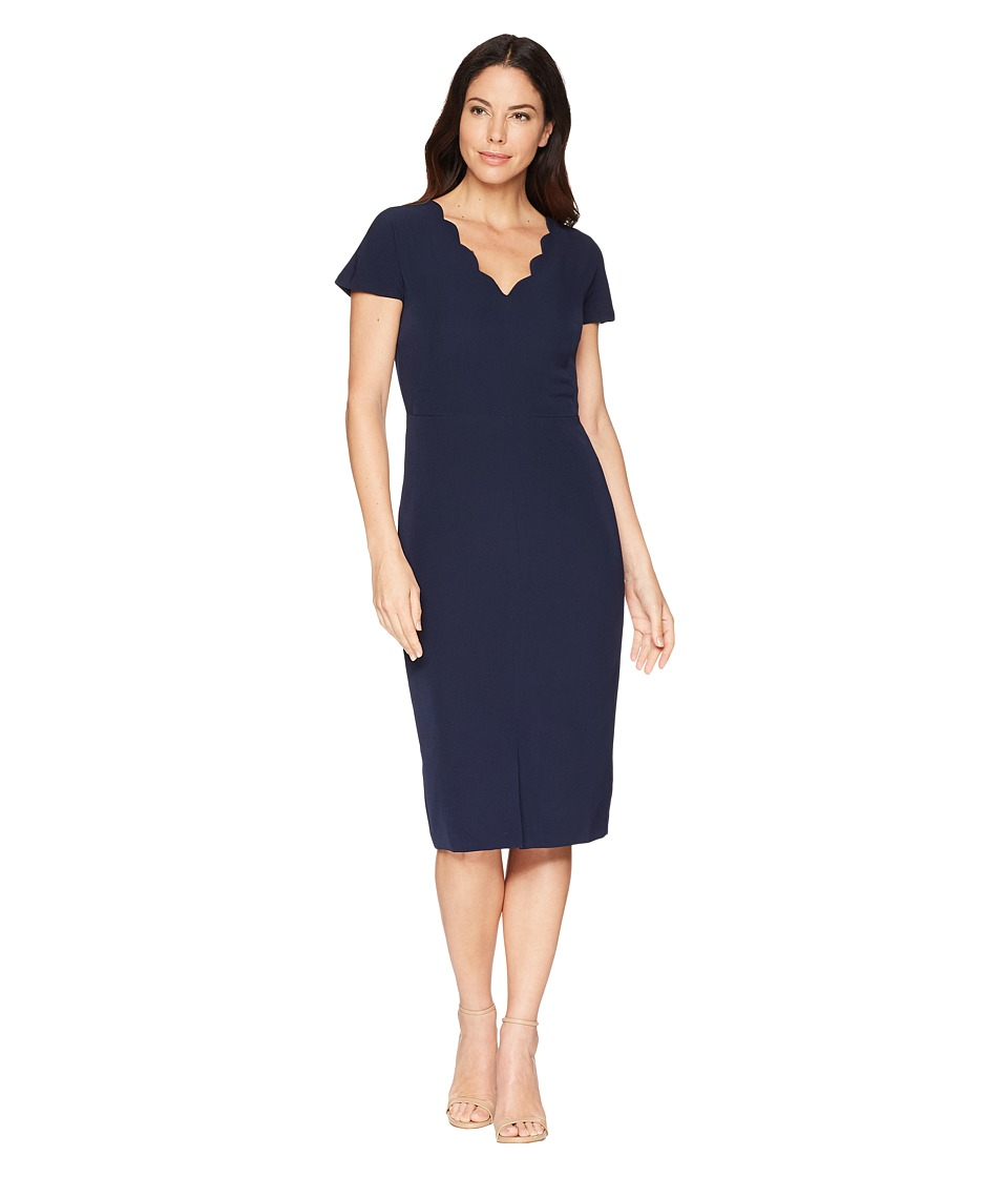 Maggy London - Dream Crepe Sheath Dress with Scallop Neck (Navy) Womens Dress
