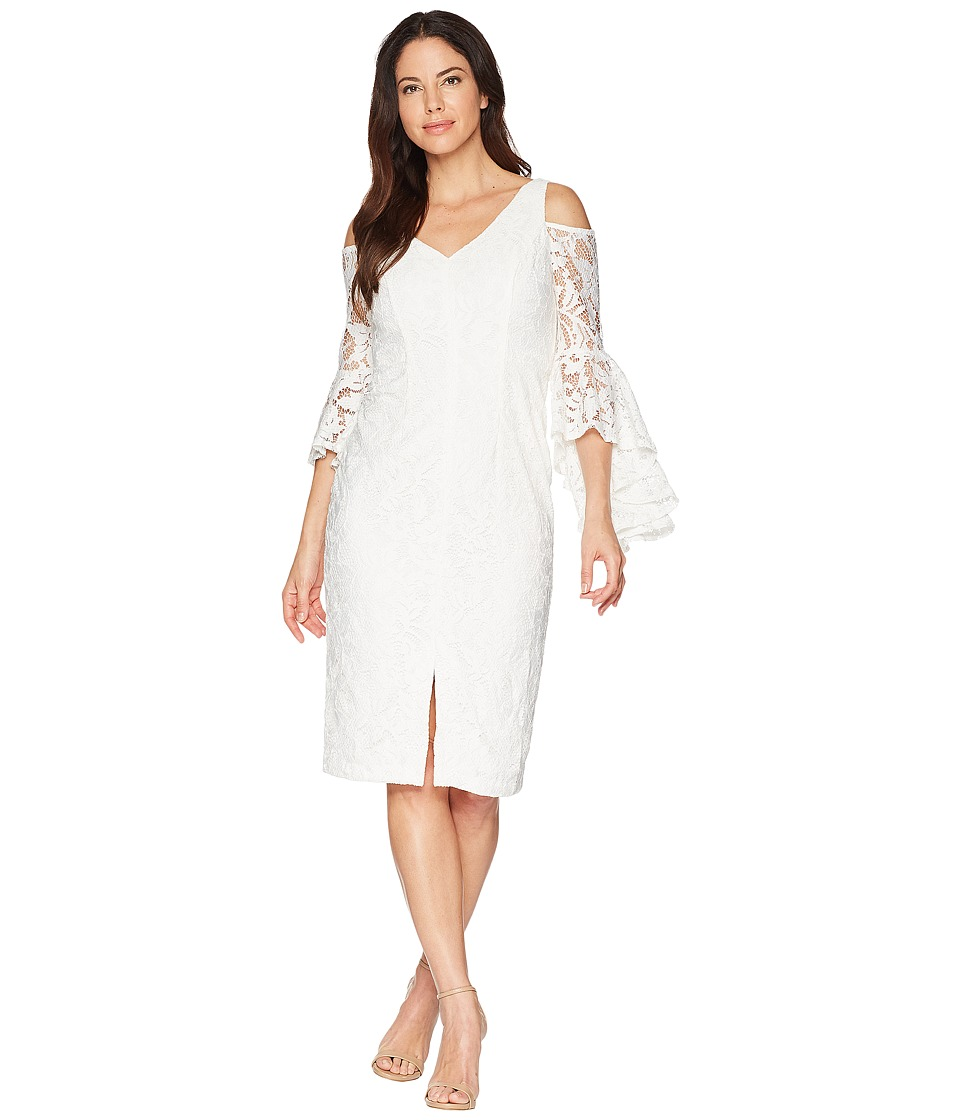 Maggy London - Breezy Leaf Lace Cold Shoulder Sheath Dress with Ruffle Sleeve (White) Womens Dress