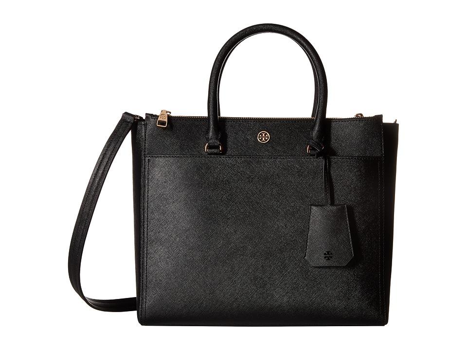 Tory Burch - Robinson Double Zip Tote (Black/Royal Navy) Tote Handbags