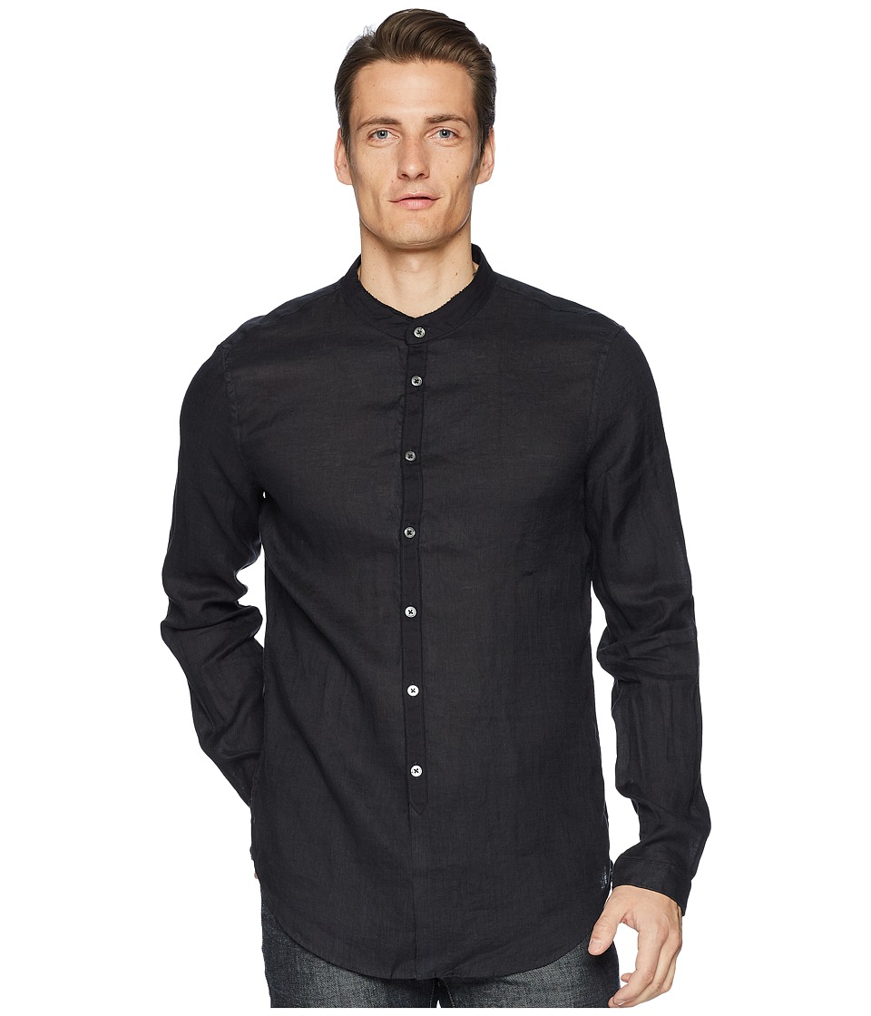 John Varvatos Collection - Slim Fit Band Collar Shirt W538U1 (Black) Mens Long Sleeve Button Up