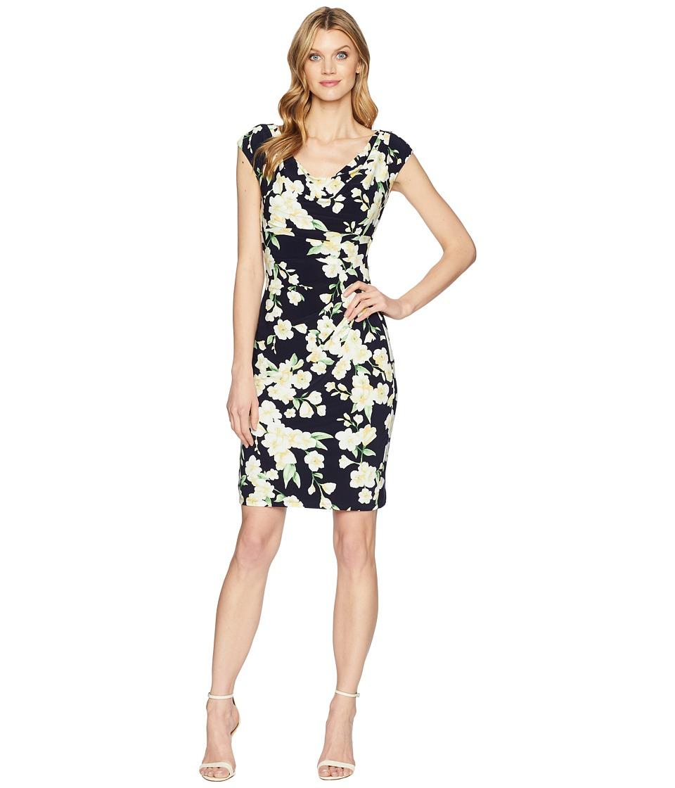 LAUREN Ralph Lauren - Starlet Floral - Valli Dress (Light House Navy/Yellow/Multi) Womens Dress