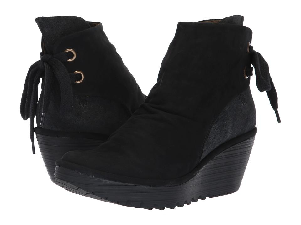 FLY LONDON Yama (Black/Anthracite Cupido/Griffon) Women's Shoes