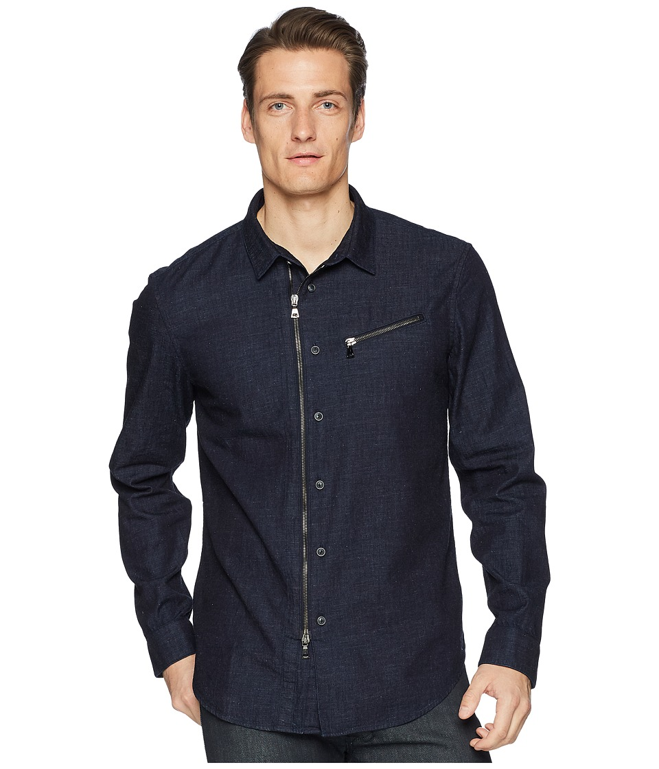 John Varvatos Collection - Washed Slim Fit Zip-Up Shirt W532U1 (Indigo) Mens Long Sleeve Button Up