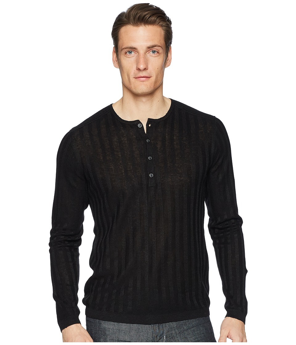 John Varvatos Collection - Long Sleeve Rib Henley Y2380U1 (Black) Mens Long Sleeve Pullover