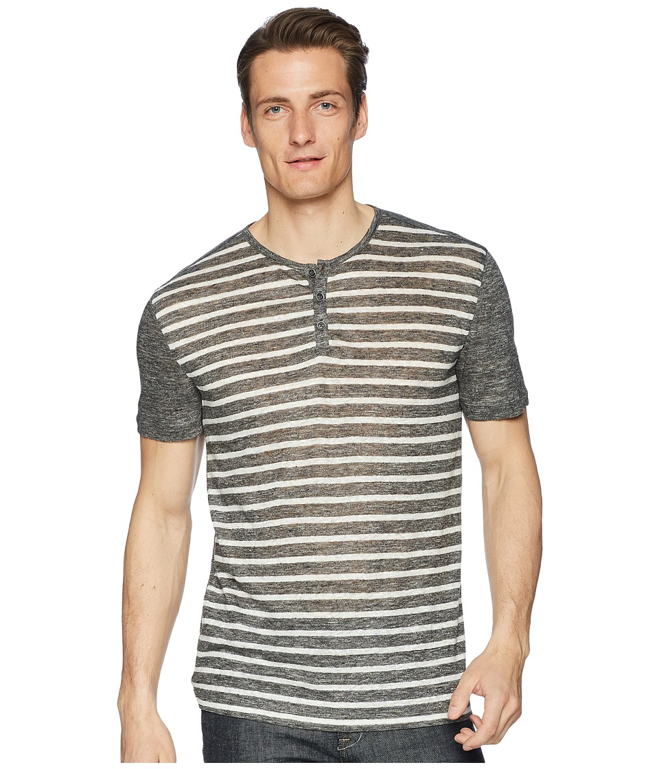John Varvatos Collection - Short Sleeve Stripe Henley K2266U1 (Charcoal Heather) Mens Short Sleeve Pullover