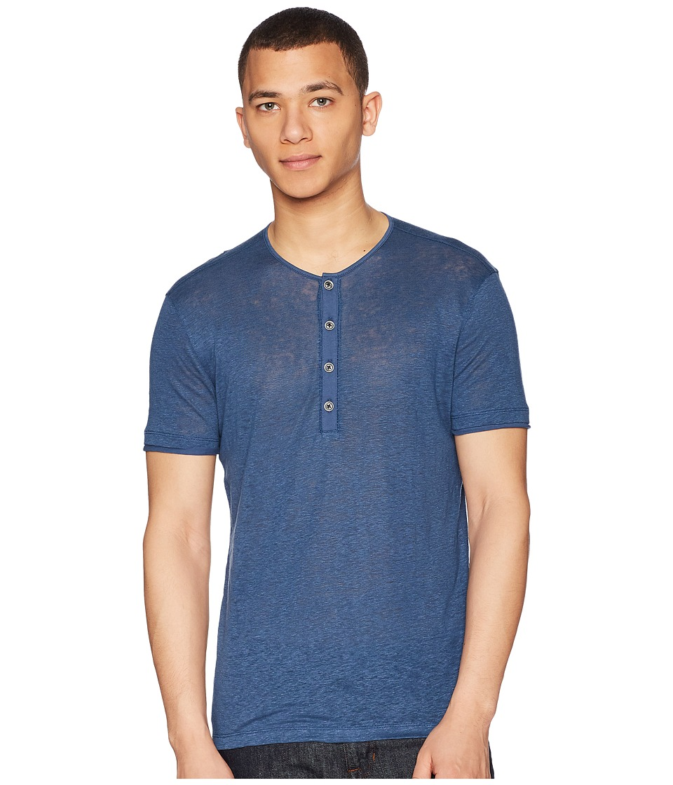 John Varvatos Collection - Short Sleeve Henley K1368U1 (Lake Blue) Mens Short Sleeve Pullover