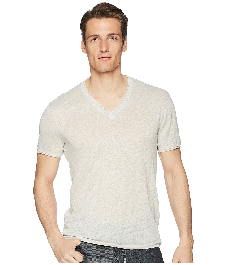 John Varvatos Collection - Short Sleeve Jersey V-Neck T-Shirt K736U1 (Fossil Grey) Mens T Shirt