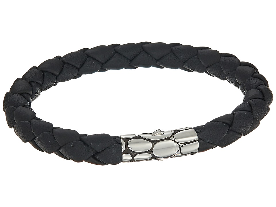 John Hardy - Kali 8mm Station Bracelet in Black Leather (Silver/Black) Bracelet