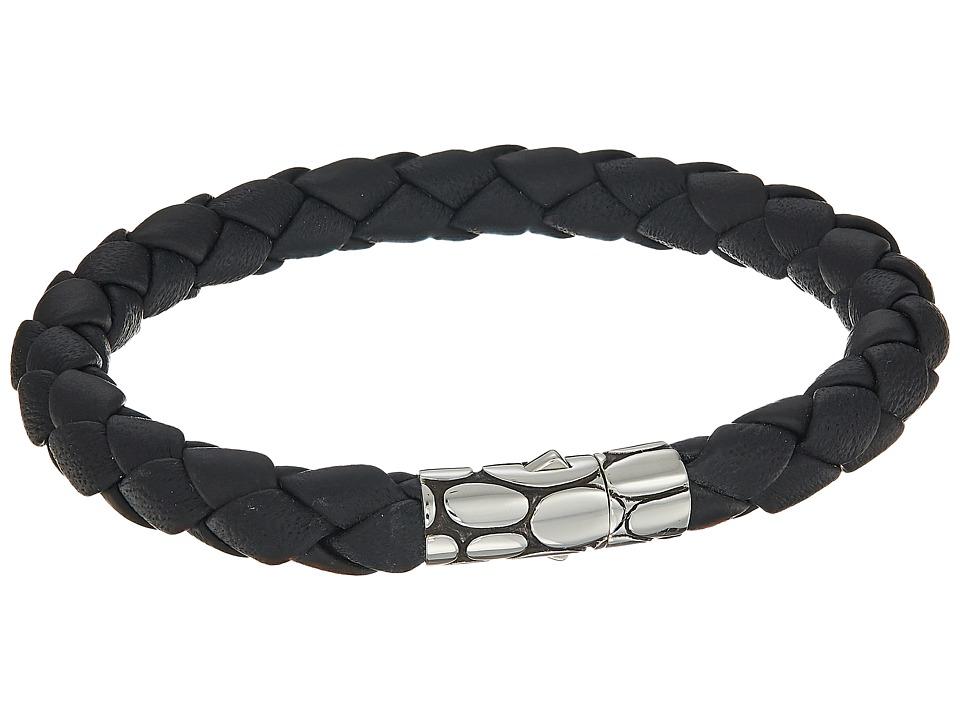 John Hardy - Kali 8mm Station Bracelet in Black Leather (Silver/Black) Bracelet