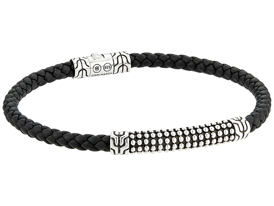 John Hardy - Classic Chain Jawan Bracelet On 4mm Black Woven Leather (Silver) Bracelet