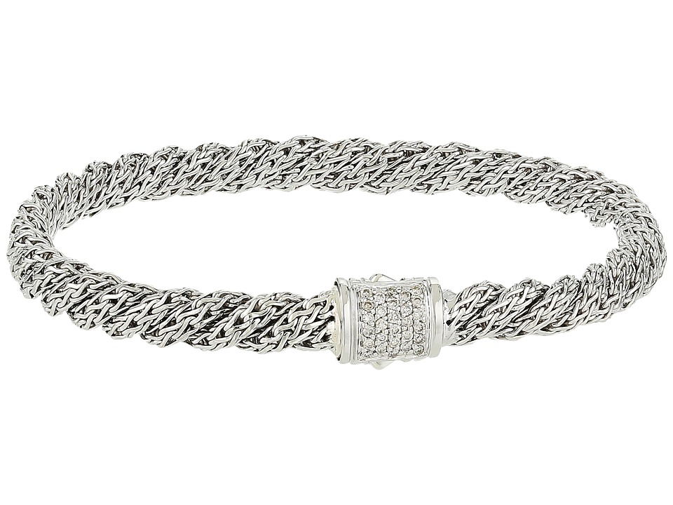 John Hardy - Twist Chain Diamond Pave Flat Bracelet (Silver) Bracelet