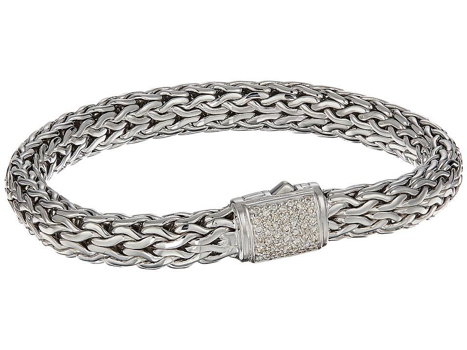 John Hardy - Classic Chain 7.5mm Bracelet with Diamonds (Silver) Bracelet