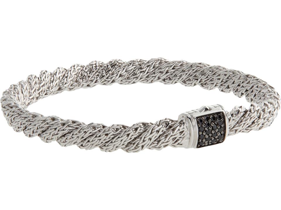 John Hardy - Twist Chain Lava Flat Bracelet with Black Sapphire (Silver) Bracelet