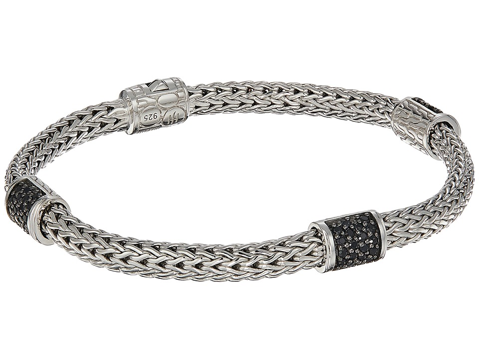 John Hardy - Classic Chain Four-Station 5mm Bracelet with Black Sapphire (Silver) Bracelet