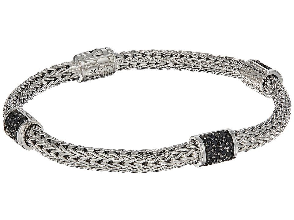 John Hardy - Classic Chain Four-Station 5mm Bracelet with Black Sapphire (Silver) Bracelet