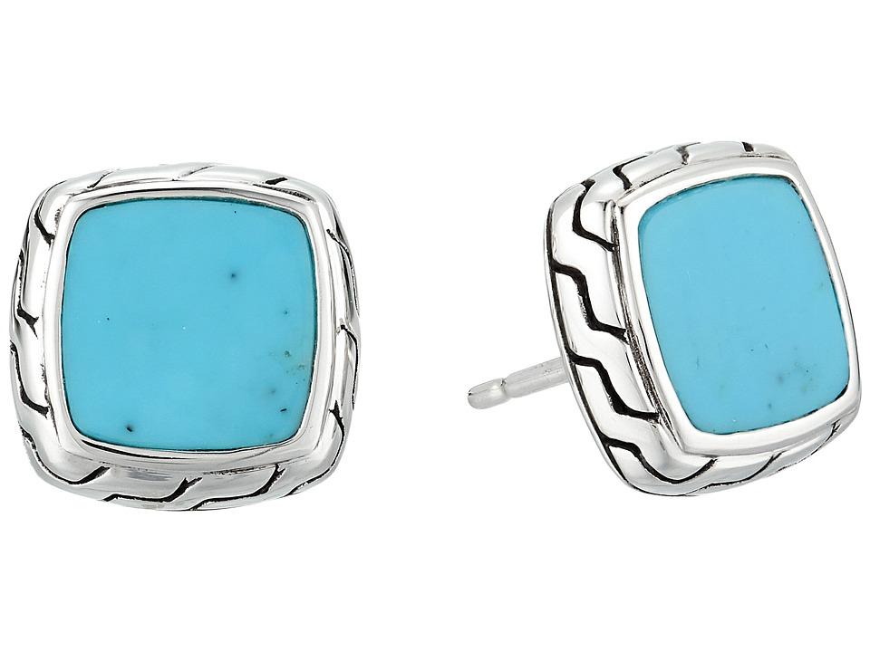 John Hardy Classic Chain Stud Earrings with Turquoise (Si...