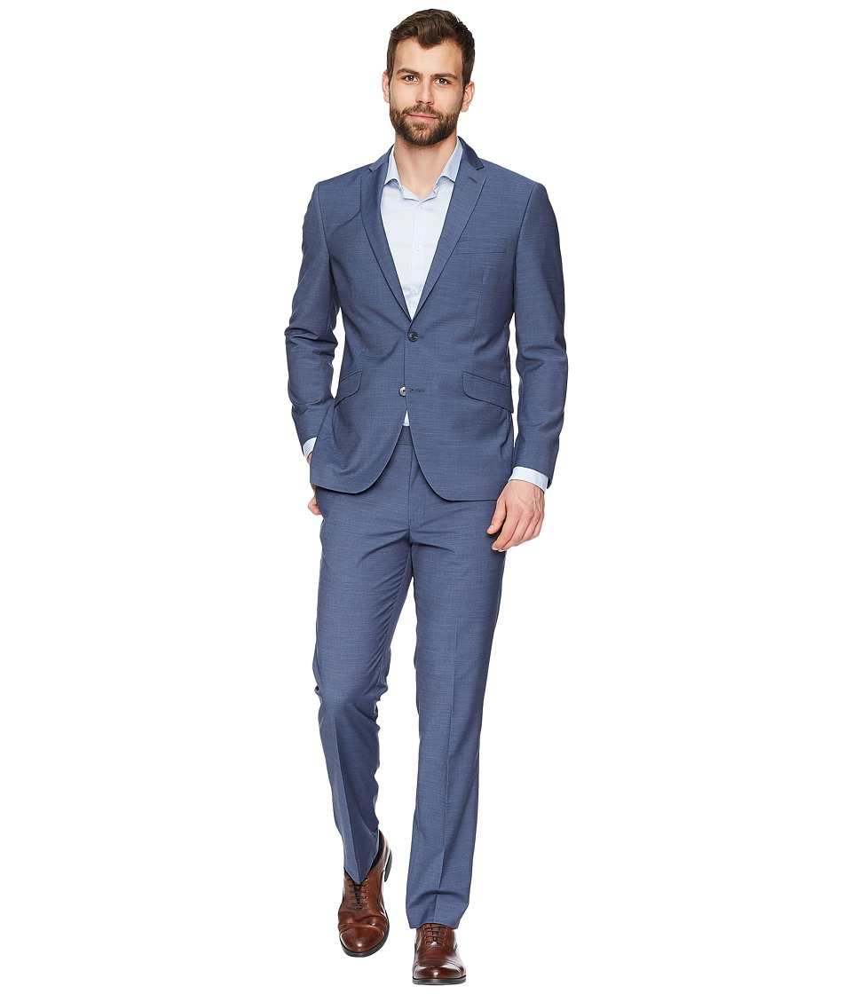 Kenneth Cole Reaction - Textured 32 Finished Bottom Suit (Blue) Mens Suits Sets