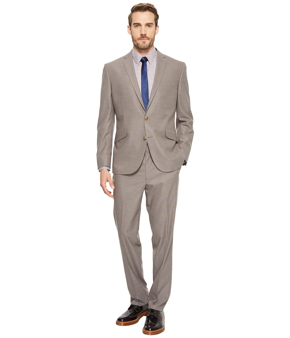 Kenneth Cole Reaction - Textured Pin Dot 32 Finished Bottom Suit (Tan Textured) Mens Suits Sets