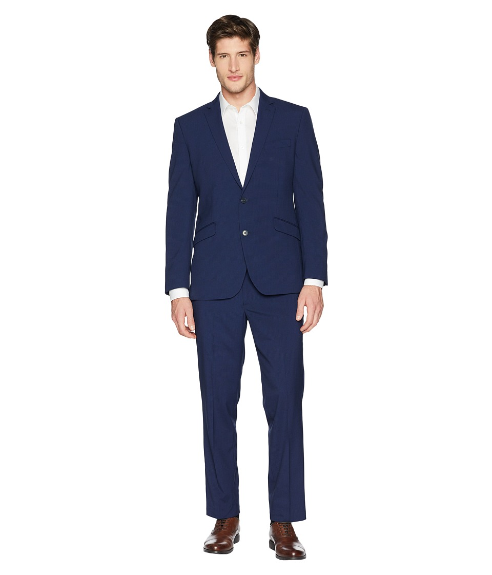 Kenneth Cole Reaction - 32 Finished Bottom Suit (Blue Check) Mens Suits Sets