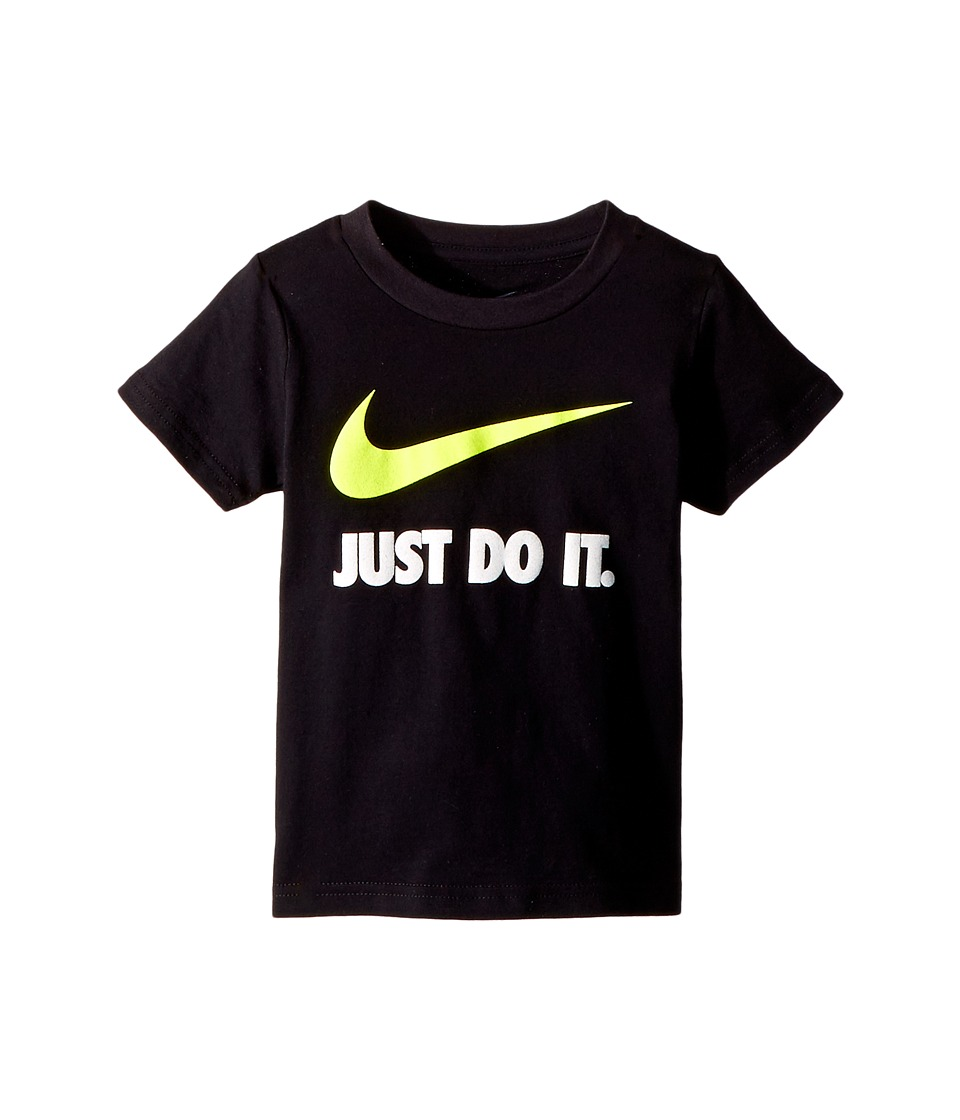 Nike Kids - Just Do It Swoosh Tee (Toddler) (Black/Volt) Boys T Shirt