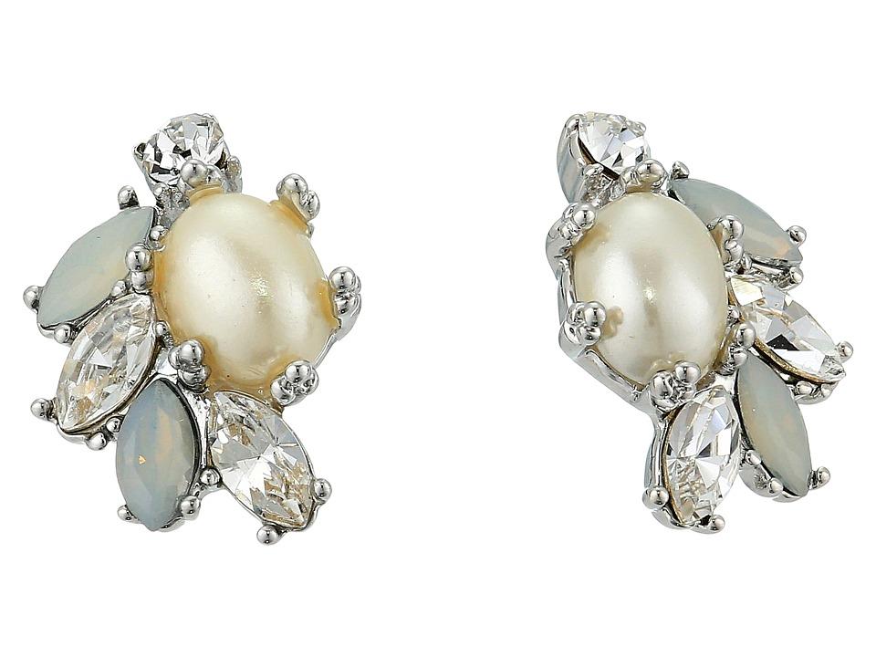 Marchesa - Crystal Glass Pearl Button Earrings (Silver) Earring