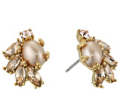 Marchesa Crystal Glass Pearl Button Earrings