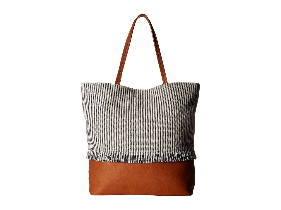 SOLE / SOCIETY - Aurora Fringe North/South Tote (Navy/Cream) Tote Handbags