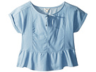 Maddie by Maddie Ziegler Chambray Short Sleeve Top with Ruffle Bottom (Big Kids)