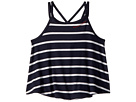 Maddie by Maddie Ziegler Stripe Rib Tee with Cross-Back Detail (Big Kids)