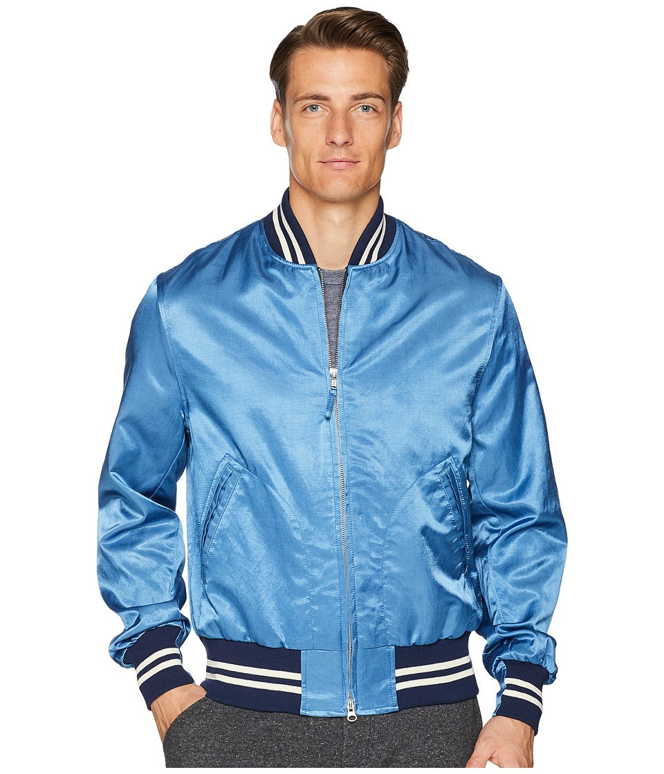 Todd Snyder + Champion - Indigo Satine Varsity Jacket (Indigo) Mens Coat