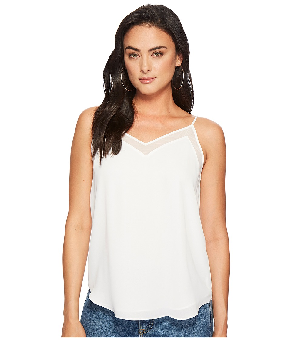 1.STATE - V-Neck Cami w/ Chiffon Insert (Cloud) Womens Sleeveless