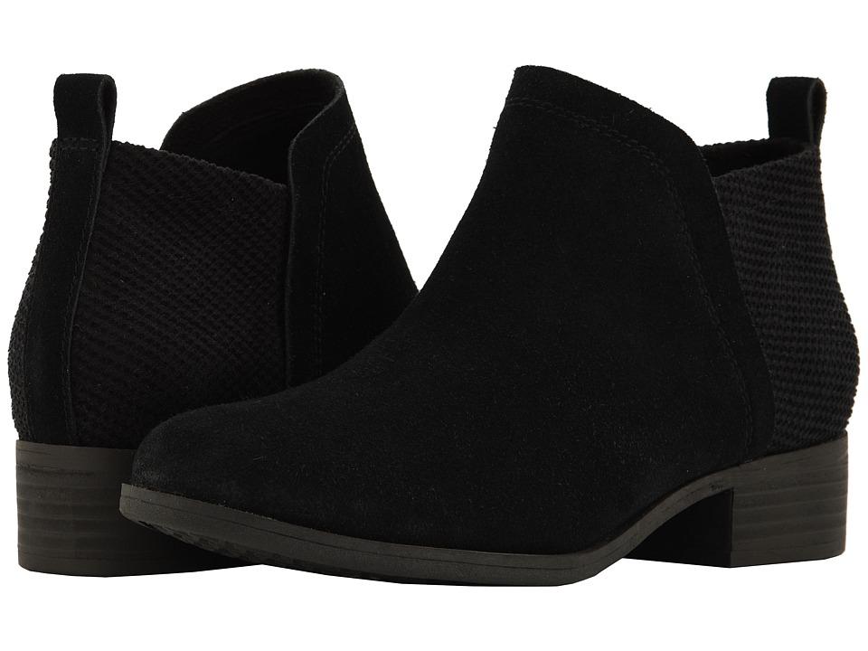 TOMS Deia (Black Suede/Textured Velour Mix) Slip-On Shoes