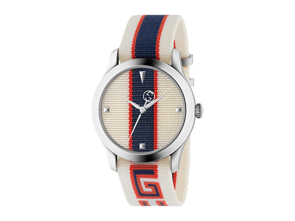 Gucci G-Timeless - YA1264071 (Cream/Red/Blue) Chronograph...