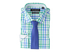 Nick Graham Multi Check Stretch Shirt with Textured Solid Tie