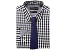 Nick Graham Multi Gingham Check Stretch Shirt with Micro Solid Dobby Tie