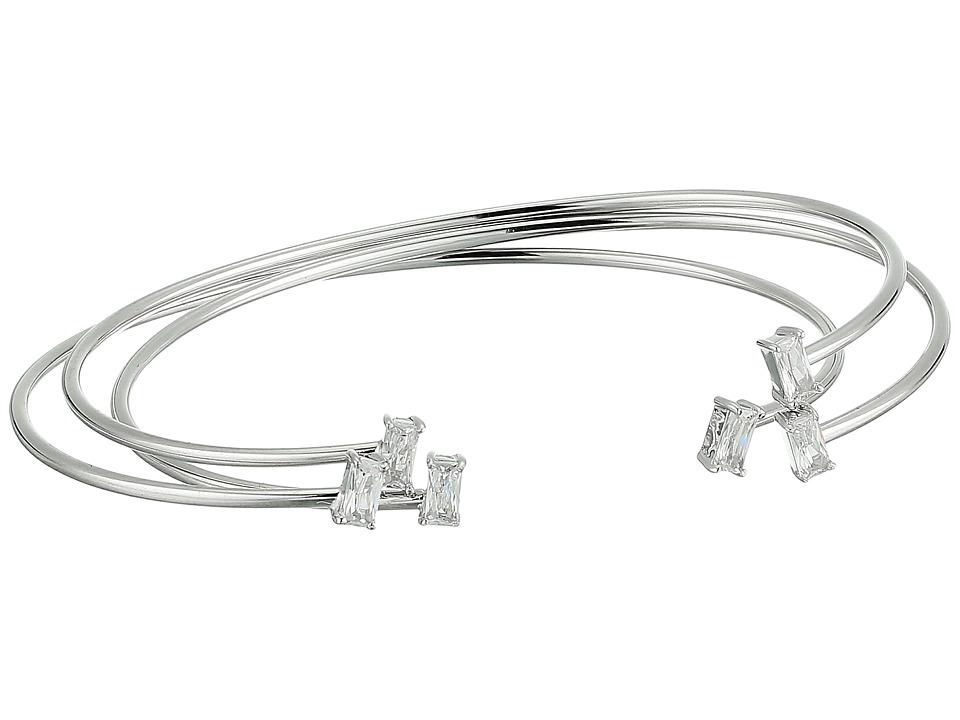 Betsey Johnson - Blue by Betsey Johnson Silver Open Cuff Bracelets with CZ Stones (Crystal) Bracelet