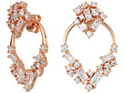 Betsey Johnson Betsey Johnson Blue by Betsey Johnson Rose Gold Crystal Stone Cluster Front Back Earrings