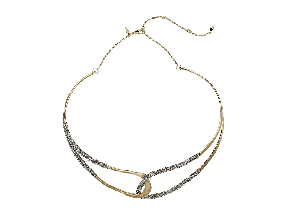 Alexis Bittar - Crystal Encrusted Freeform Collar Necklace (10K Gold/Rhodium) Necklace
