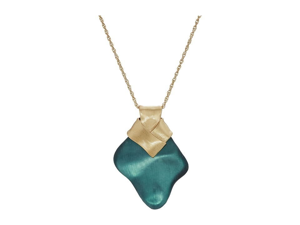 Alexis Bittar - Folded Metal Knot Pendant Necklace (Teal Blue) Necklace