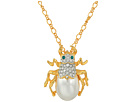 Kenneth Jay Lane 18 Gold Chain with Crystal and Pearl Beetle Pendant Necklace