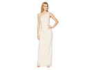 Adrianna Papell Metallic One Shoulder Lace Gown