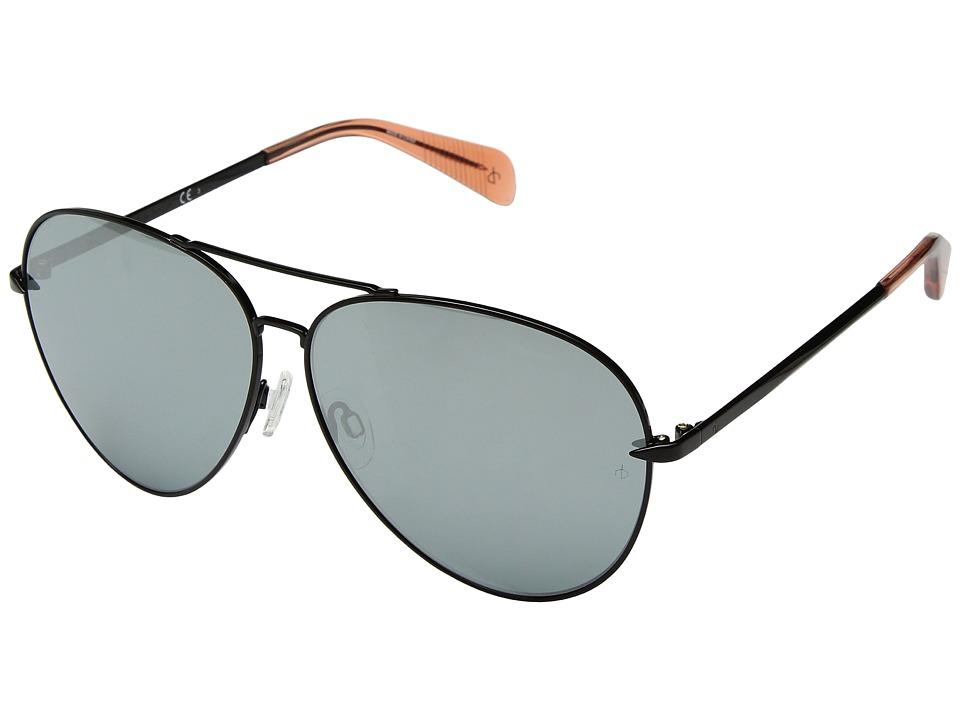 rag & bone - RNB1006/S (Black/Orange/Black Mirror) Fashion Sunglasses