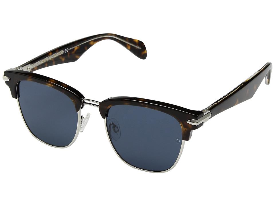 rag & bone - RNB5007/S (Havana Palladium/Blue Avio) Fashion Sunglasses