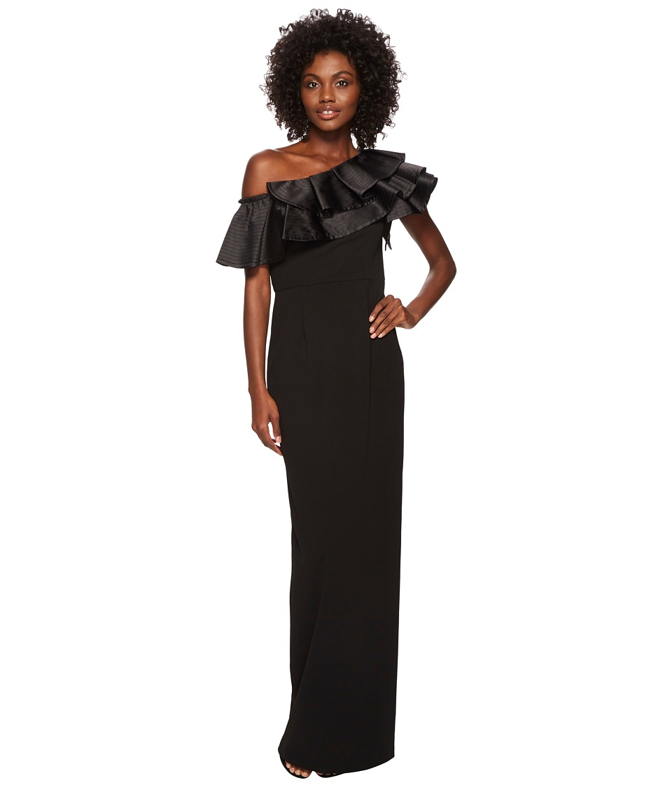 Adrianna Papell Dramatic One Shoulder Long Crepe Gown (Bl...