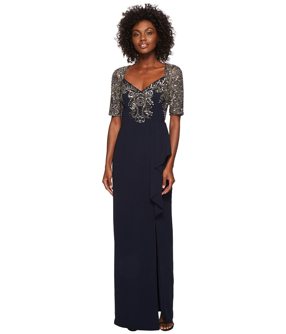Adrianna Papell Elbow Sleeve Bead Bodice Gown with Cascade Crepe ...