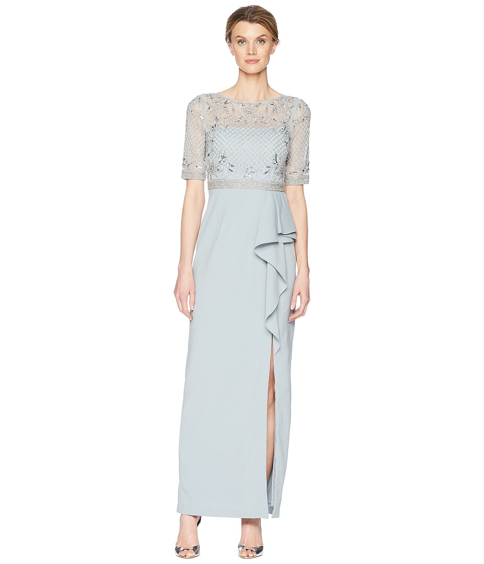 Adrianna Papell 3/4 Sleeve Beaded Bodice Mob Gown with Ru...